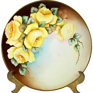 Antique Hand Painted Limoges Charger Plate Yellow Roses Artist Signed Kuhn