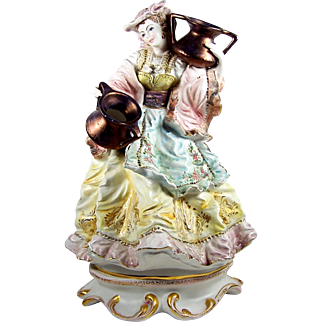 """Large Figurine Lady with Water Pots 16 1/2"""" Hand Painted Ceramic Figure"""