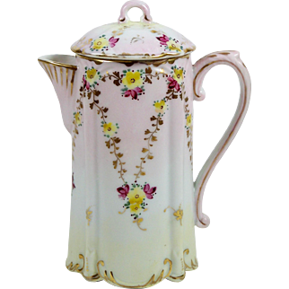 Antique Chocolate Coffee Pot 16 oz Hand Painted Flowers Gold Vines Pink & White
