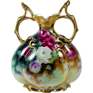 Hand Painted Nippon Vase Pink & White Roses Double Handle Embossed Gold Trim