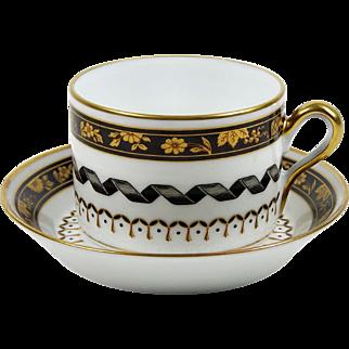 Richard Ginori Tea Cup Pincio Black Gold Flowers on Black Gold Trim Italy