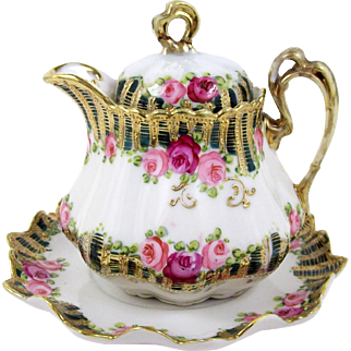 Nippon Personal Teapot or Cream Pitcher w/ Under Plate Hand Painted Pink Roses Heavy Gold 10oz