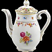 Schumann Dresden Coffee Teapot 20 oz Flowers Ca 1950's w/ Sugar Bowl Lid