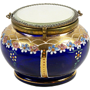 Enameled Glass Trinket Box Powder Jar Mirrored Lid Flowers on Cobalt
