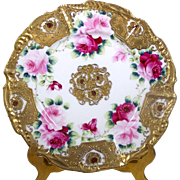Antique Encrusted Hand Painted Plate Pink Roses Heart Border Raised Gold Accents