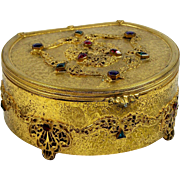 Silvercraft Jewelry Casket Jeweled Gilt Brass Ormolu Blue Velvet Lining 1920's