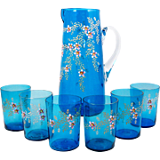 Antique Enameled Glass Pitcher with 6 Glasses Pink Flowers on Blue