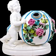 Antique Porcelain Rose Bowl Vase Putto Figure w/ Ball Applied Flowers Meissen Style