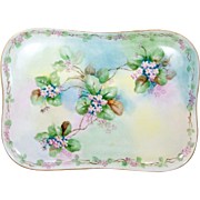"Hand Painted Limoges Dresser Vanity Tray Pink Flowers Tri-Color 11"" x 8"" Oblong"