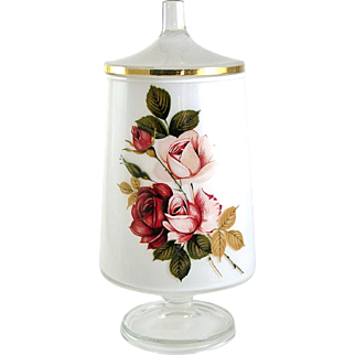 Mid Century Cased Glass Footed Jar with Lid Pink & Red Roses