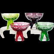 Cut Glass Aperitif Liqueur Cordial Glasses Hobstar Pineapple 4 Mixed Colors