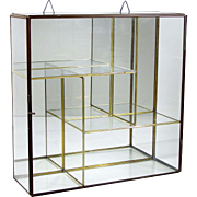 Brass Glass Doll Case Tabletop or Wall Display Curio Miniatures Jewelry
