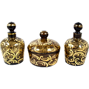 Glass Dresser Set Powder Jar Perfume Bottles Gold Decorated 3 Piece Vanity Set