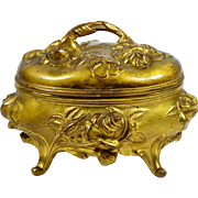 Antique Gilt Metal Jewelry Casket Roses Pink Satin Lining Footed Trinket Box