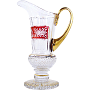 Bohemian Style Art Glass Pitcher Red Cut to Clear Band Pedestal Foot Gold Trim