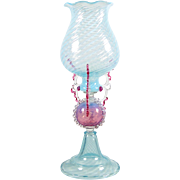 """Murano Vase Blue Spiral Twist with Pink Rigaree 14 1/4"""" Venetian Glass"""