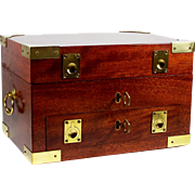Vintage Cigar Humidor Campaign Style Cabinet Case w/ Trays & Keys Brass Accents