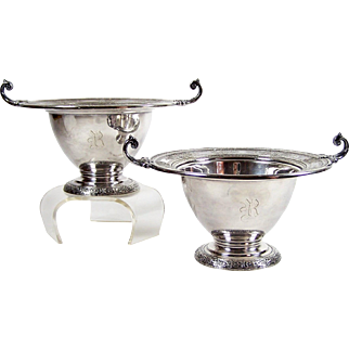 "Wilcox Silver Plate Footed Bowl 5"" Candy Dish Pair R Monogram White Metal Mounts"