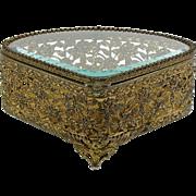 Ormolu Jewelry Casket Trinket Box Beveled Glass Hinged Lid Fabric Lined