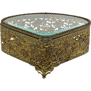 Ormolu Jewelry Casket Trinket Box Beveled Glass Hinged Lid Fabric Lined