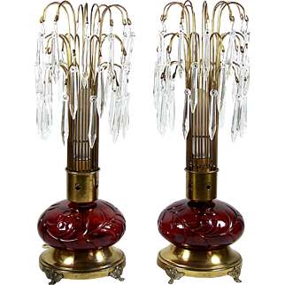 Antique Boudoir Lamp Pair Red Glass Bases w/ Crystal Prism Shades Footed