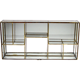 Glass Brass Miniatures Display Case Jewelry Mirrored Table Top or Wall