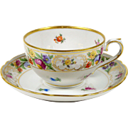 Schumann Tea Cup 1940's Dresden Line 6 oz Dresden Flowers Gold Trim