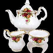 Royal Albert Teapot Tea Set Old Country Roses Cream Sugar First Mark Pre 1962
