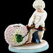 Hand Painted Figural Vase Pink Hydrangea Flower Boy Figure Porcelain