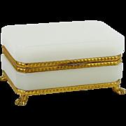 French White Opaline Casket Bronze Ormolu Mounted Glass Trinket Box Paw Feet