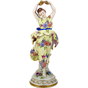 """Volkstedt Porcelain Figurine Hand Painted Floral Dress Cymbal Player 10"""" Dancer"""