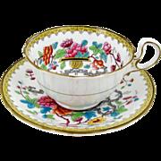 Aynsley Bone China Tea Cup Oriental Flowers & Vases Yellow Border Brown Trim 6oz