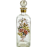 "Hand Painted Glass Liquor Bottle Decanter Enameled Flowers 13"" x 4"" Square"