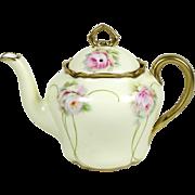 Antique German Teapot 20 oz Art Nouveau Pink Roses on Yellow 1895-1910 Bavaria