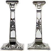 Art Nouveau Silver Deposit Candle Holders Floral Overlay on Glass Set of 2