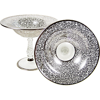Sterling Silver Overlay Glass Pedestal Bowl Pair Elegant Glass Compotes