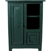 Wood Doll Cabinet or Cupboard 2 Door Storage Accessory Display Shelves