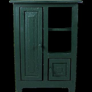 Wood Doll Cabinet or Cupboard 2 Door Storage Accessory Display Shelves