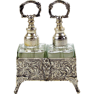 Perfume Bottles w/ Silver Plate Fitted Holder 2 Scent Bottles with Stand