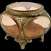 Beveled Glass Ormolu Jewelry Casket Vitrine Peach Glass Tufted Interior