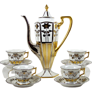 Limoges Chocolate Espresso Pot 4 Demitasse Cups Hand Painted Artist Signed Silver & Gold