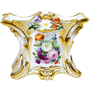 Old Paris Vase Hand Painted Roses Porcelain Attached Flowers Rectangular Shape