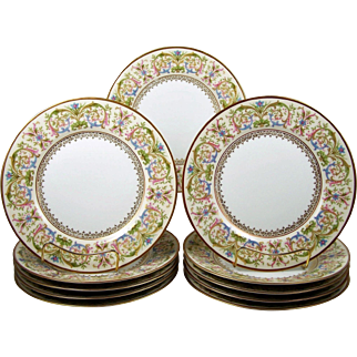 11 Limoges Plates Dessert Luncheon Multi Color Floral C Ahrenfeldt 1894-1930's