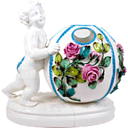 Antique Meissen Style Rose Bowl Vase Putto Putti w/ Ball Form & Applied Flowers