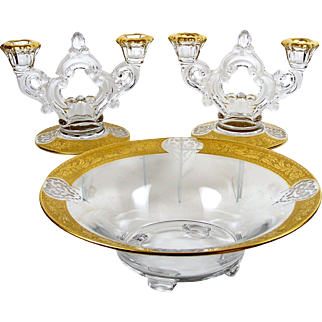 Centerpiece Bowl Etched Gold Band Matching Candelabra Pair Console Set