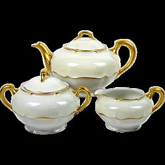 Haviland Teapot Tea Set Marlborough Pattern Haviland & Co Beige Band 1894-1931