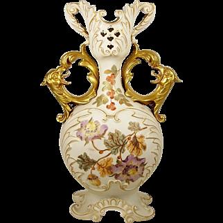 "Antique Porcelain Vase Phoenix Bird Handles Rudolstadt 13""+ Hand Painted Floral"