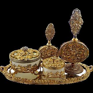 Dresser Vanity Tray Set Gilt Brass Ormolu 5 pce w/ Powder Jar & Perfumes