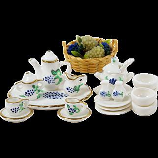 Dollhouse Bone China Tea Set w/ Tray plus Matching Soup Tureen & Bowls