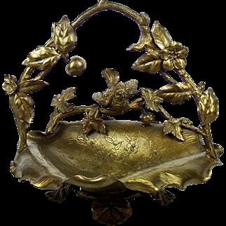Antique Gilt Brass Centerpiece Basket Bowl Applied Bird Flowers Fruit 1860-1900